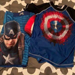 Other - Boys Captain America swim suit and rash guard